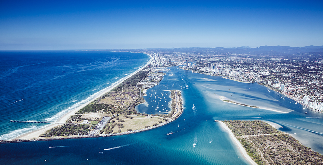 Aerial shot of The Spit, The Gold Coast