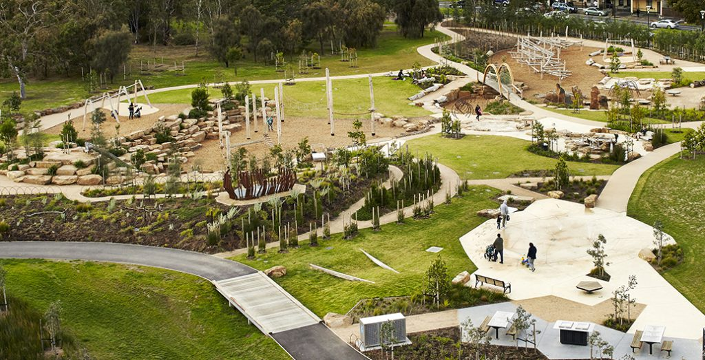 The Return to Royal Park playground project in Melbourne employs nature play principles.