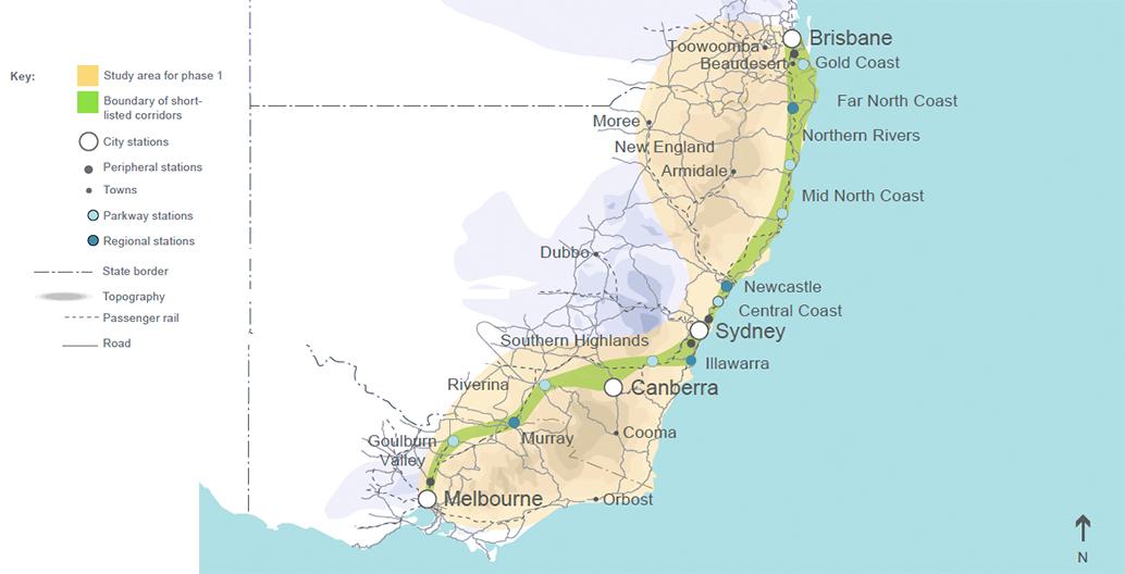Boundary of short-listed corridors Image: AECOM 2011