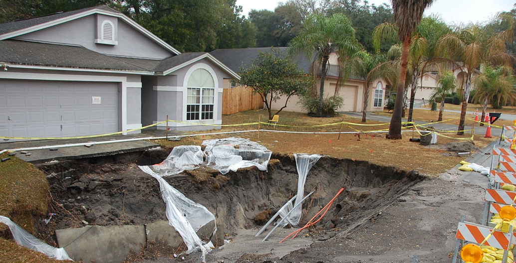 Sinkholes such as this are common in Florida. Image courtesy of US Geological Survey