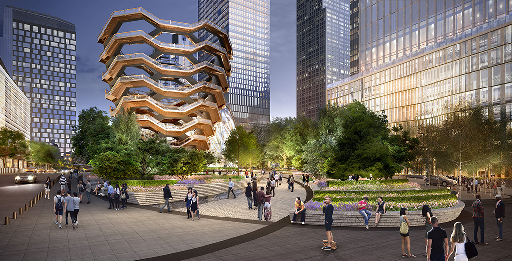 An artist's rendering of the Hudson Yards plaza. Image courtesy of NBW.