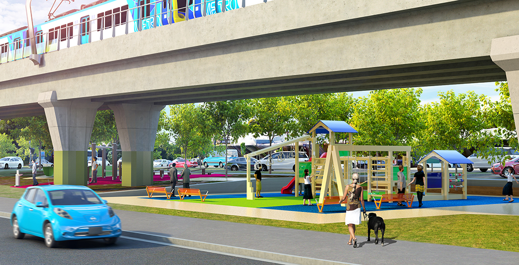 Playground proposal for Melbourne's sky rail.