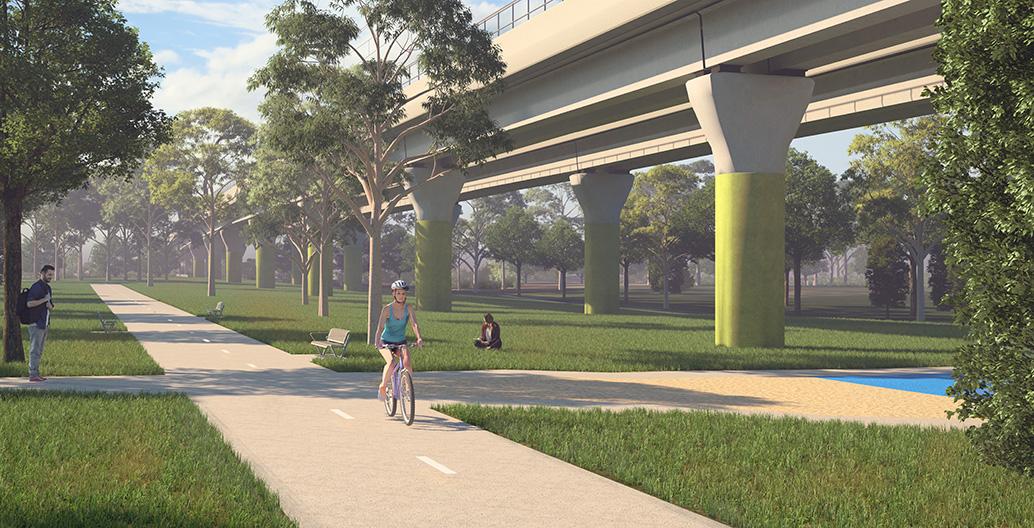 Urban woodland proposal for Melbourne sky rail.