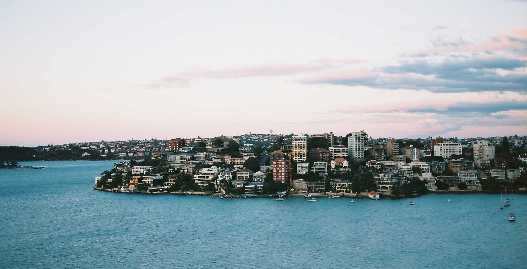 A view of Sydney's various waterfront flats.