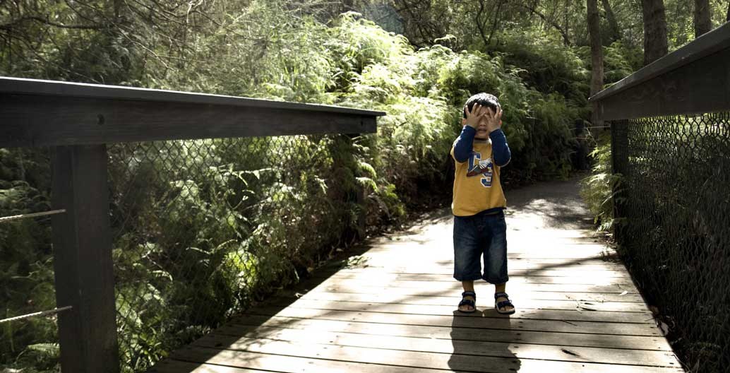 A child taking a moment to pause in a temperate rainforest.