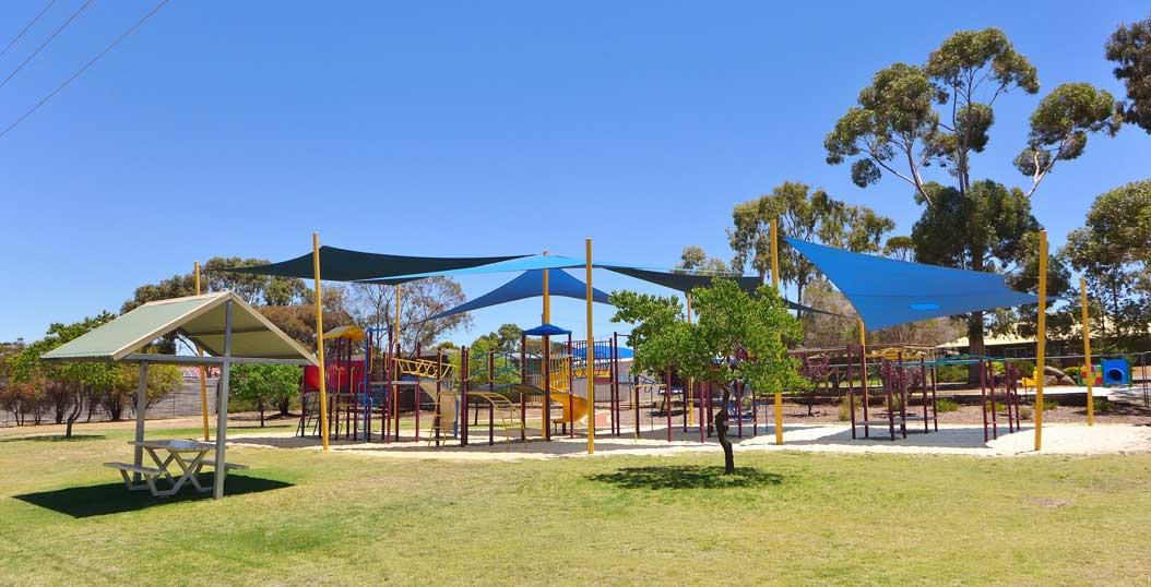 A modern playground in Pingelly, Western Australia.