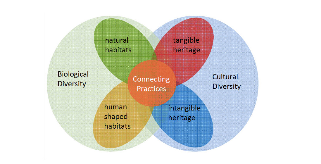 The connections between natural and human heritage.
