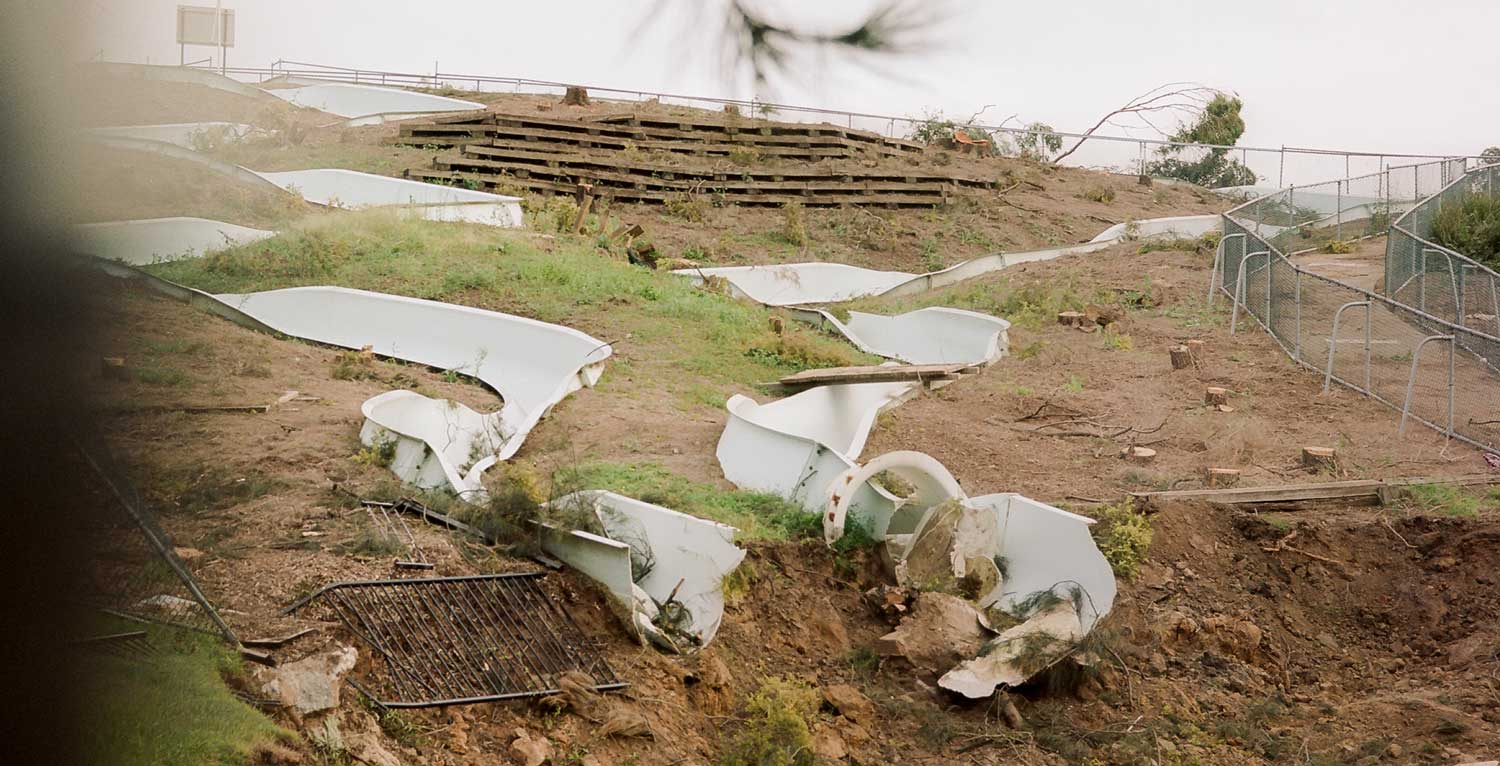 The remains of the Parramatta War Memorial Pool waterslide. Image: Chris Loutfy