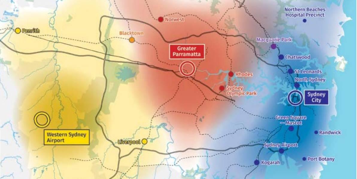 A map of Sydney's triangular growth.