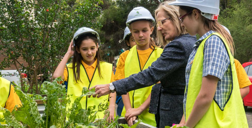 Chief Commissioner of the Greater Sydney Commission, Lucy Hughes Turnbull AO surveying Marrickville PS' freshly minted greens.