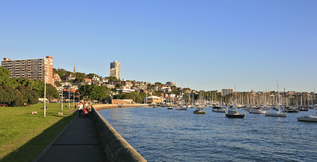 Rushcutters Bay Park's waterfront.