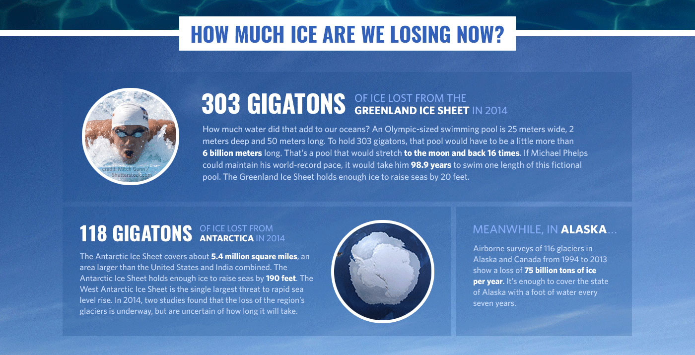 303 gigatons (equivalent to a six-billion metre Olympic-size swimming pool) has been added to our oceans from the loss of Greenland Ice Sheets alone. Image: NASA.
