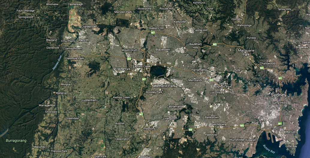The drive from central Sydney to Penrith takes an hour and a half.