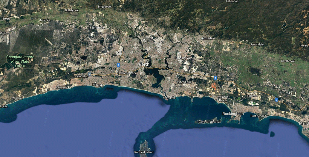 Perth looking east. Contrary to Australia's east coast, the city sprawls along the coast instead of towards the interior.