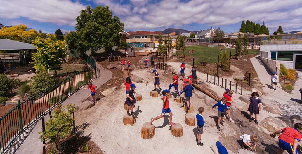 Sacred Heart Early Years Nature-based Playspace by Playstreet, winner of the 2017 AILA Play Spaces Landscape Architecture Award. Photo: Jonathan Wherrett
