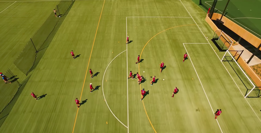 UQ's artificial soccer pitch from above. Image: UQ.