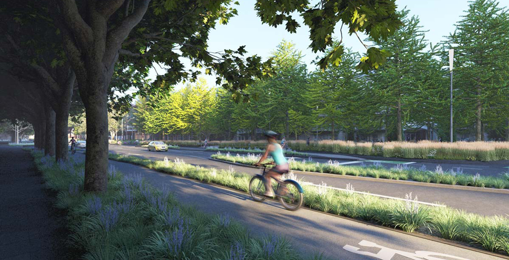 Proposed reconfigured bike lanes within Southbank.