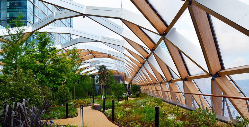 London's Canary Wharf Station rooftop garden.