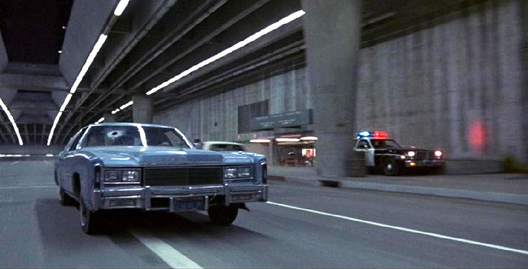 Lower Grand Ave in downtown LA as seen in 'The Terminator' (1984). Image: Tony Hoffarth.