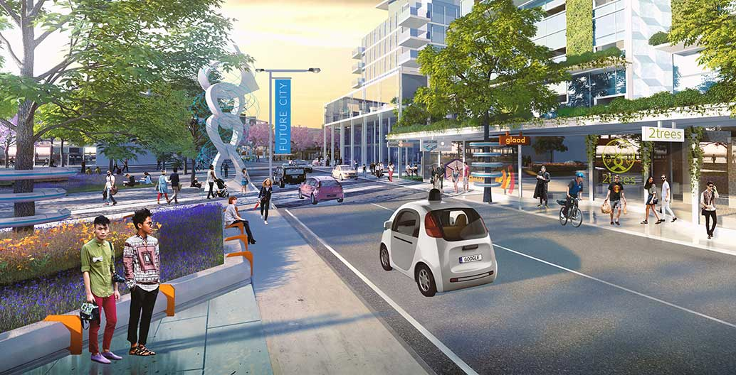 The street of the future could look a lot like today's streets, just with fewer cars, less bitumen and more green space. Image: Place Design Group