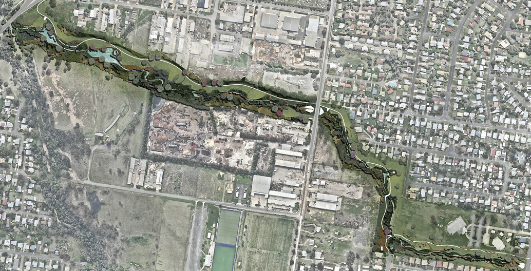 An aerial view of the creek's naturalisation masterplan.