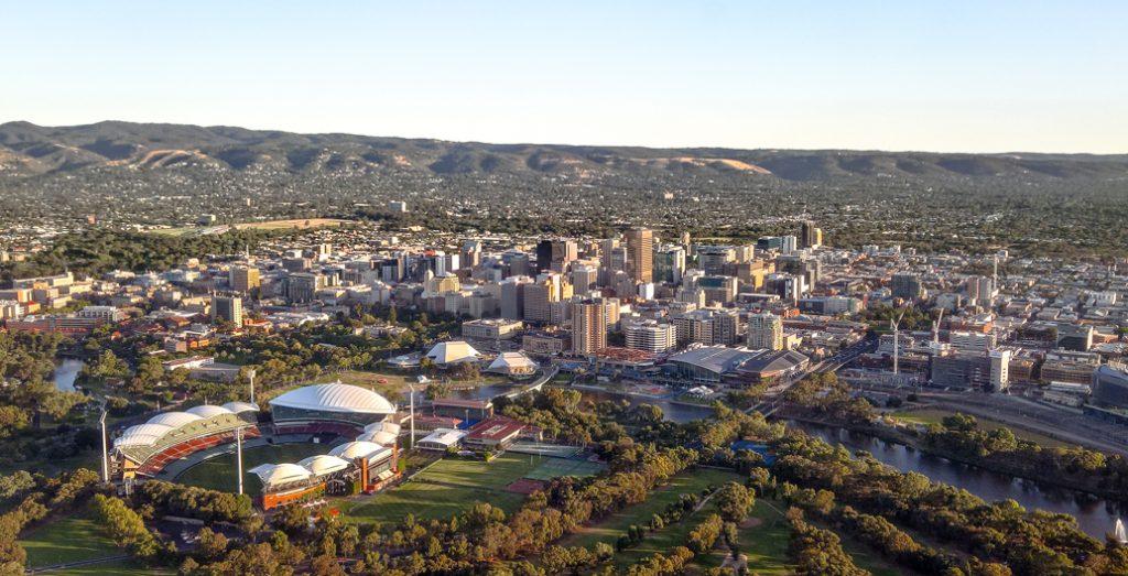 Adelaide's city centre set within circular parkland.