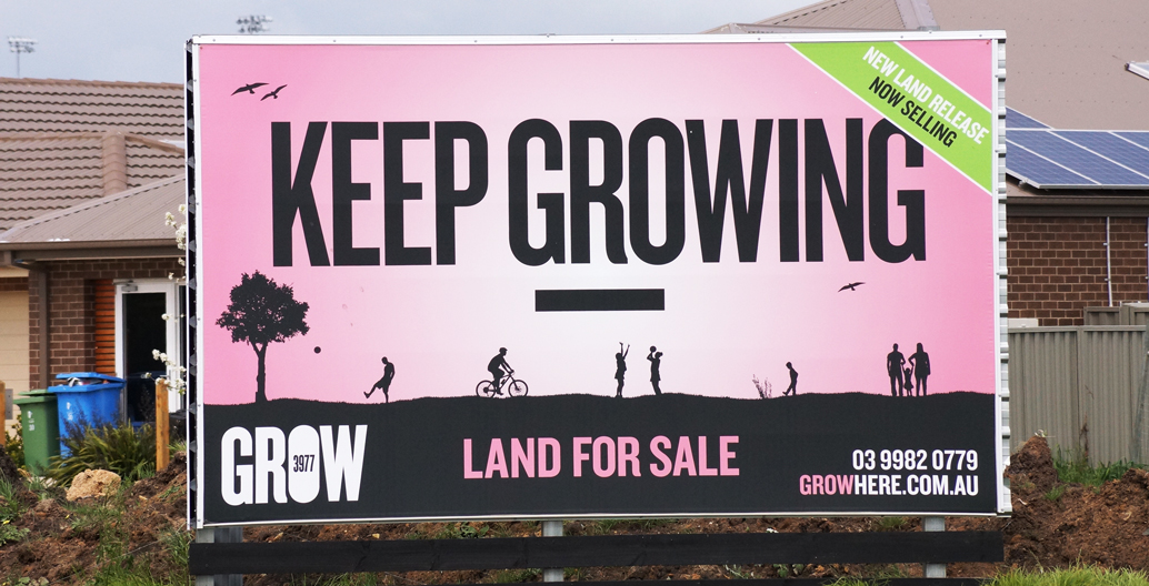 Exponential growth advertised on Melbourne's urban fringe. Image: Foodprint Melbourne.