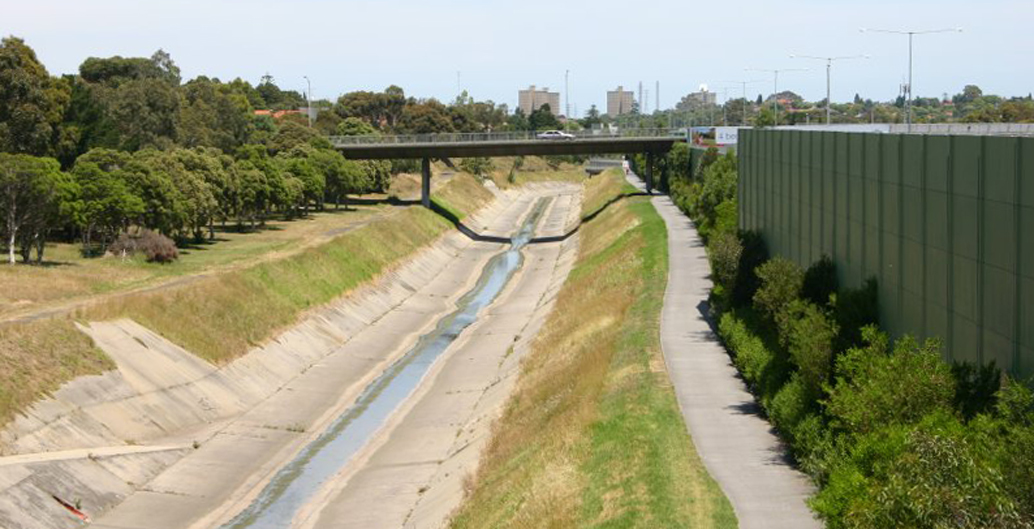 The concrete channel directing Moonee Ponds Creek, running through West Brunswick.