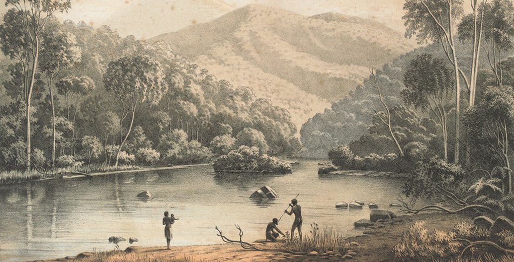 View on the upper Mitta Mitta, Eugéne von Guérard (1863-1864). Image: State Library of Victoria.