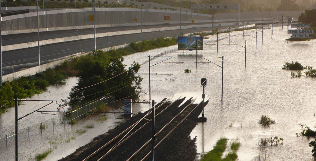 Flooded infrastructure during the 2010-11 Queensland Floods.