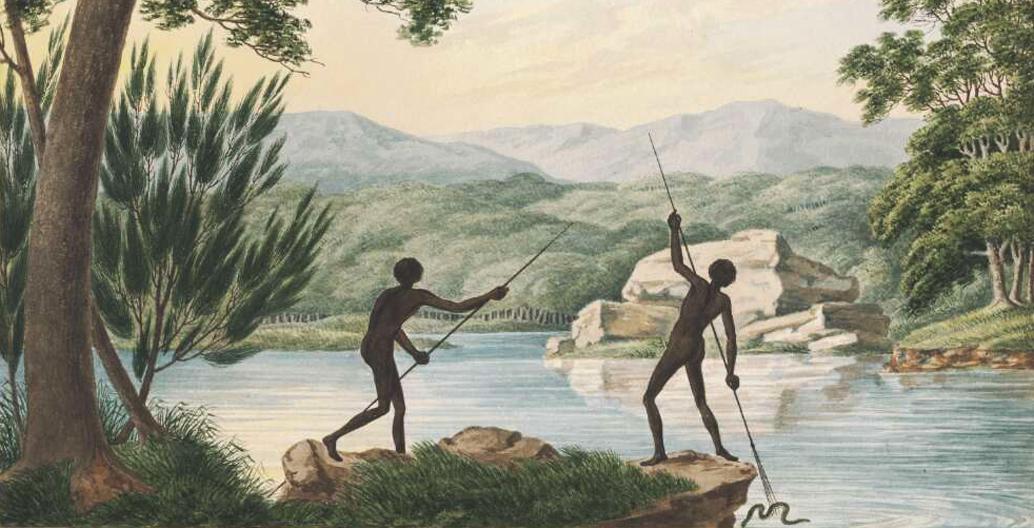 """Two Aborigines spearing eels"" Joseph Lycett c1817"
