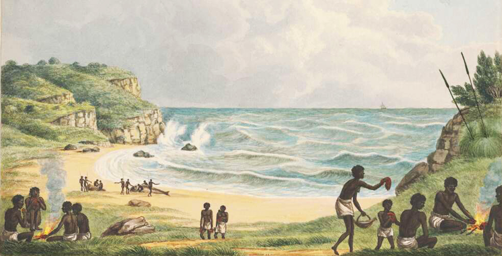 Aborigines cooking and eating beached whales, Newcastle, NSW (1817). Image: NLA.