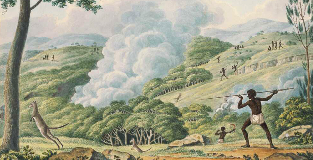 Aborigines using fire to hunt kangaroos. Image: National Library of Australia (NLA).