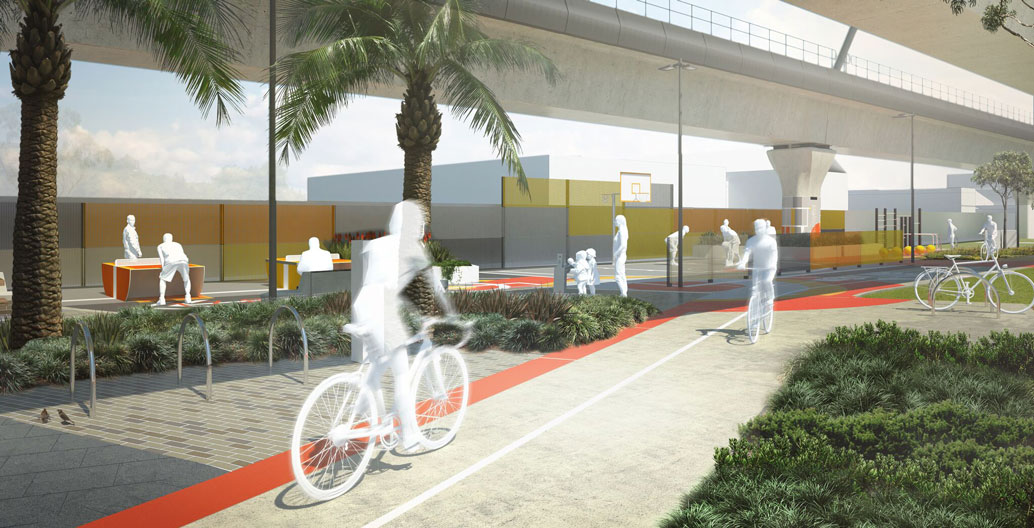 The park will incorporate mixed-use modes of use for residents and visitors. Image: LXRA.