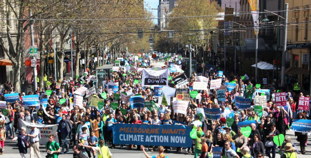 Tens of thousands of people around Australia have marched for credible climate change action, with over 10,000 taking to the streets in Melbourne in 2014.
