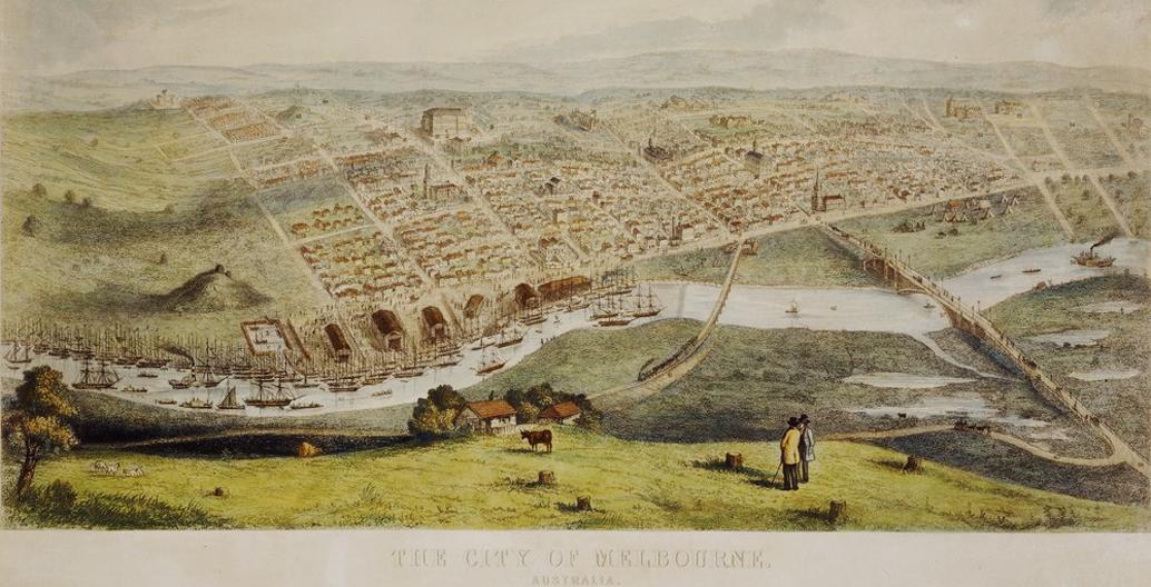 Melbourne circa 1854. Image: Nathaniel Whittock.