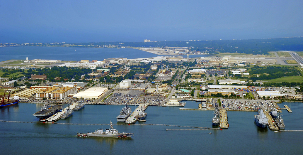 The home of the US Atlantic Fleet floods at a higher rate due to seas here rising twice the global average.