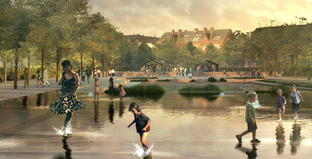 A 'water square' in Copenhagen that will be able to collect 26,000 m³ of water. Image: Tredje Natur, Cowi, and Platant.