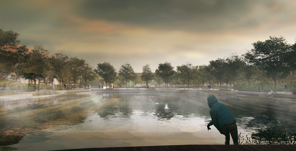 Enghaveparken ballpark Copenhagen rendered during flood. Image: Tredje Natur Cowi and Platant.