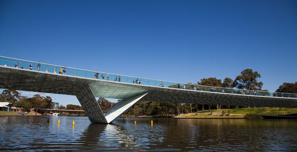 Adelaide's Riverbank Bridge precinct, as realised by Howard. Image: Jack Baldwin
