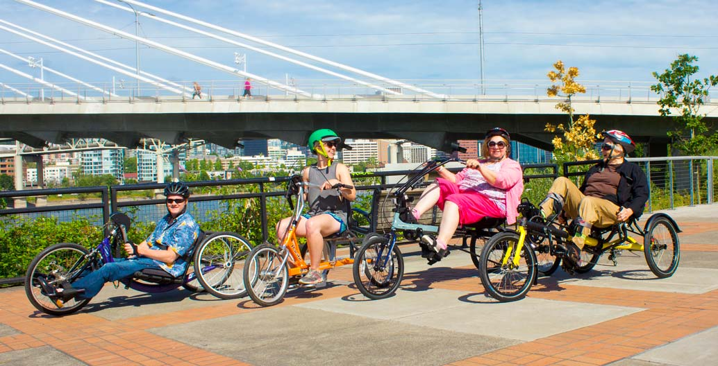 Portland citizens use accessible bikes
