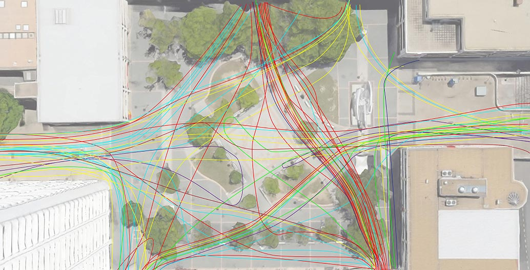Mapping the pedestrian flow across Woden Town Square. The coloured lines represent different types of user.