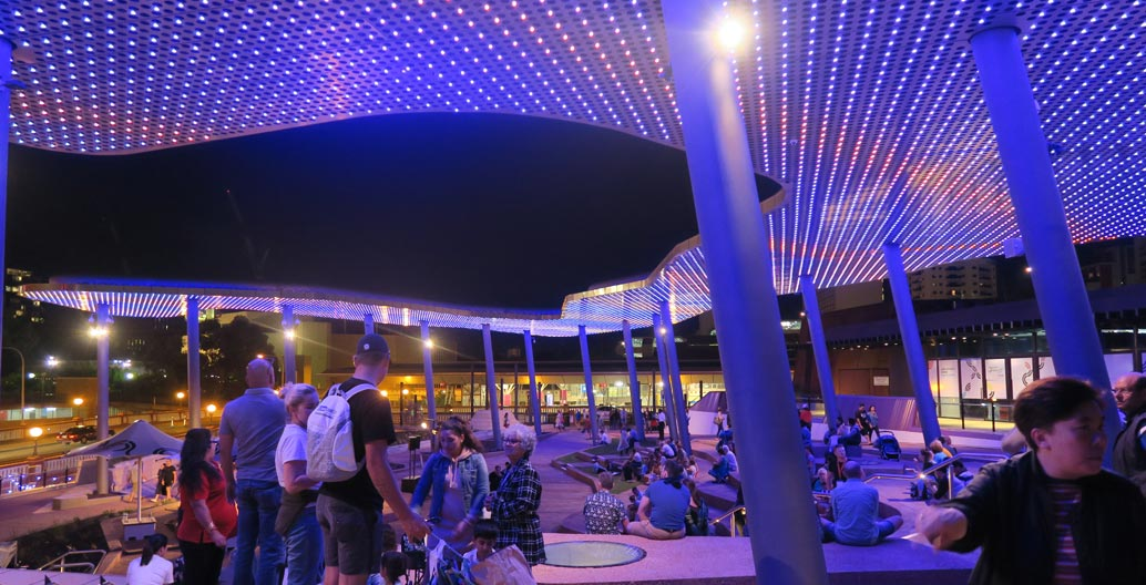 Lit up at night, Yagan Square offers new ways and spaces in which to gather.