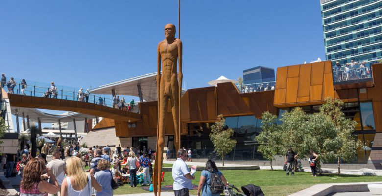 Artist Lance Chadd / Tjyllungoo's Wirin is a 9 metre high figure that surveys Yagan Square.