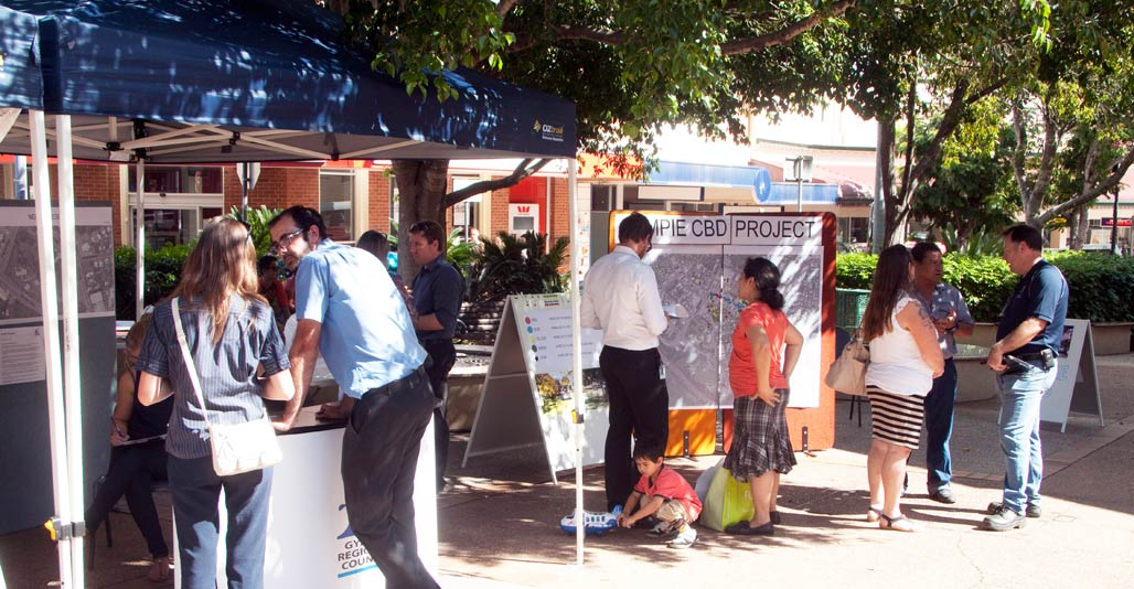 Community workshops for new public space underway in Gympie's Smithfield Street. Image: GRC