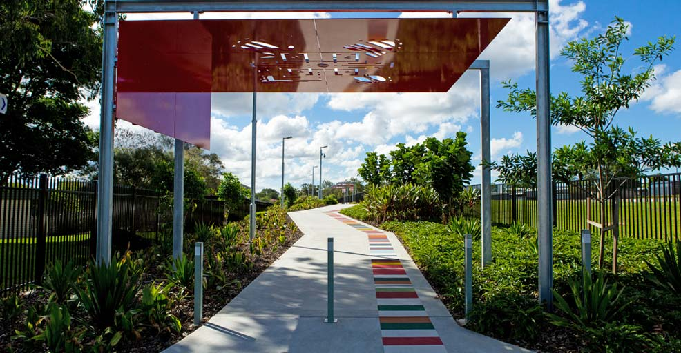 Public Art doubles as a gateway to Wembley Link path. Image: supplied