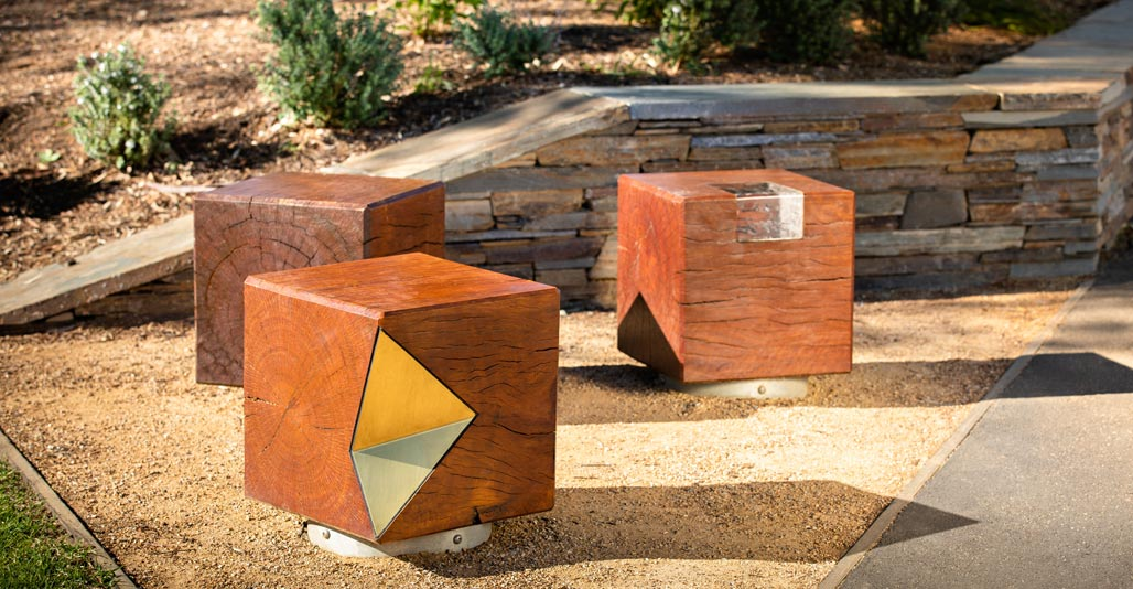 Timber block seats at Willunga Main Street. Image: Dan Schultz, Sweet Lime Photo