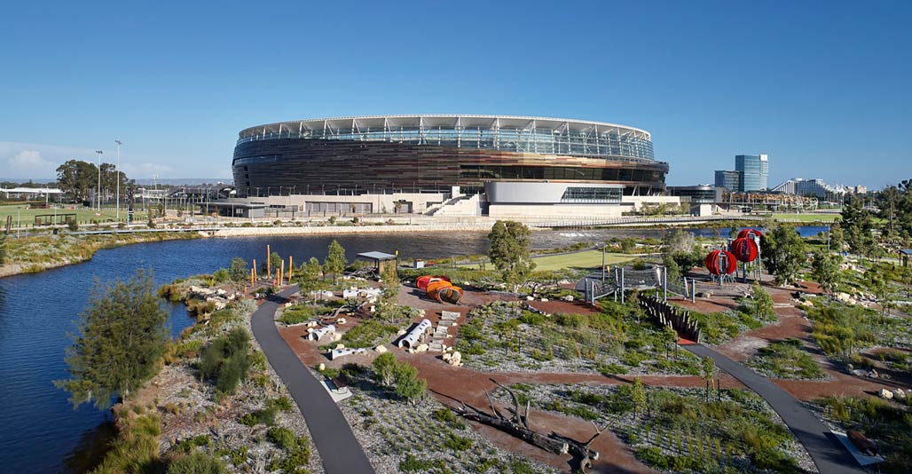 WA Medal: Optus Stadium park by Hassell. Image Peter Bennetts