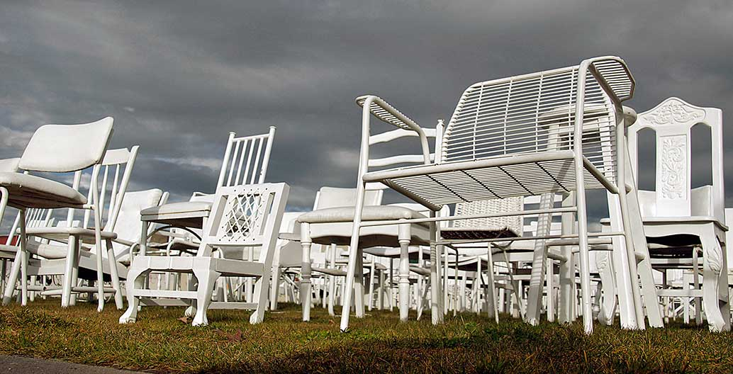 '185 Empty Chairs' by artist Peter Majendie, a temporary memorial to the Christchurch quake victims that could now become permanent. Photo: Bernard Spragg