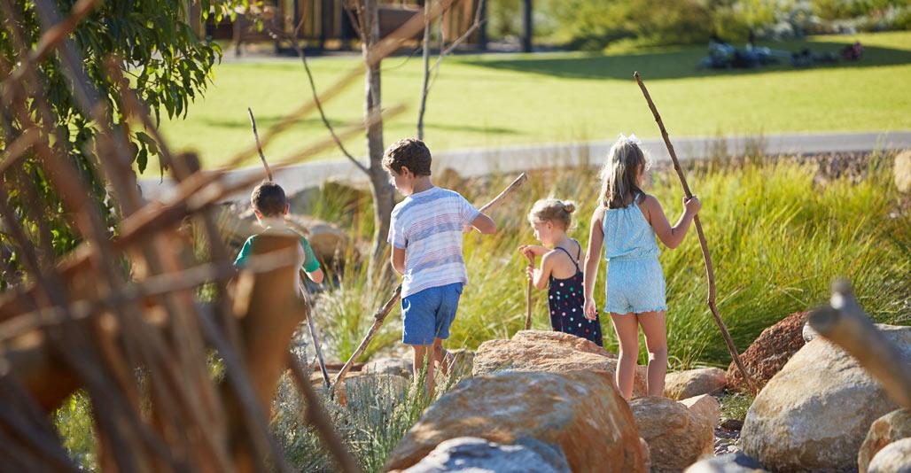 Chevron parklands provides a sensory nature play experience. Image: Robert Frith